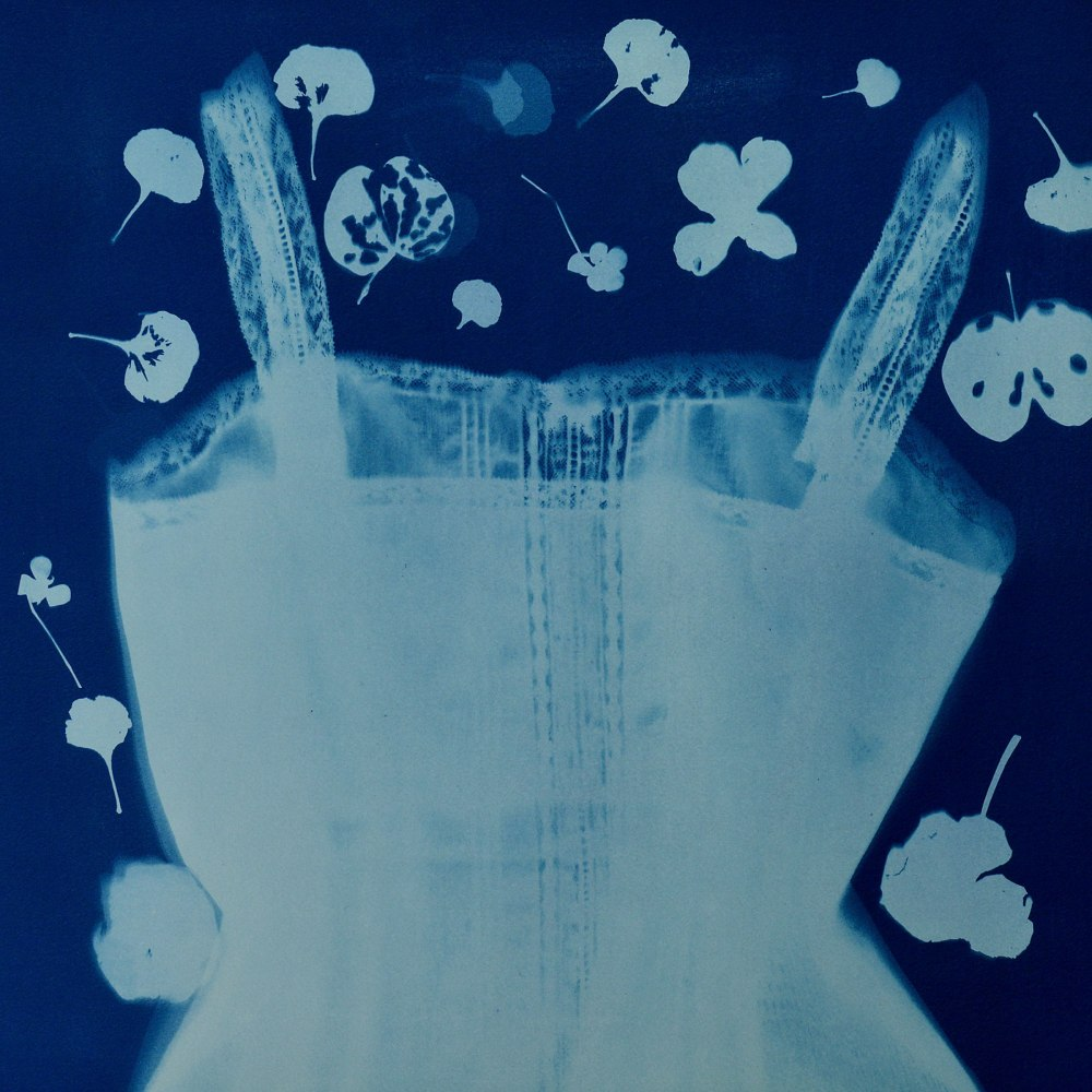 Cyanotype of a camisole with flowers