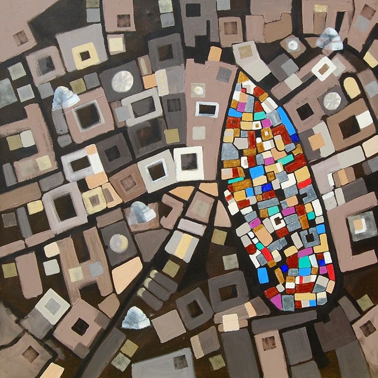 Painting of aerial view of the Medina in Tunis