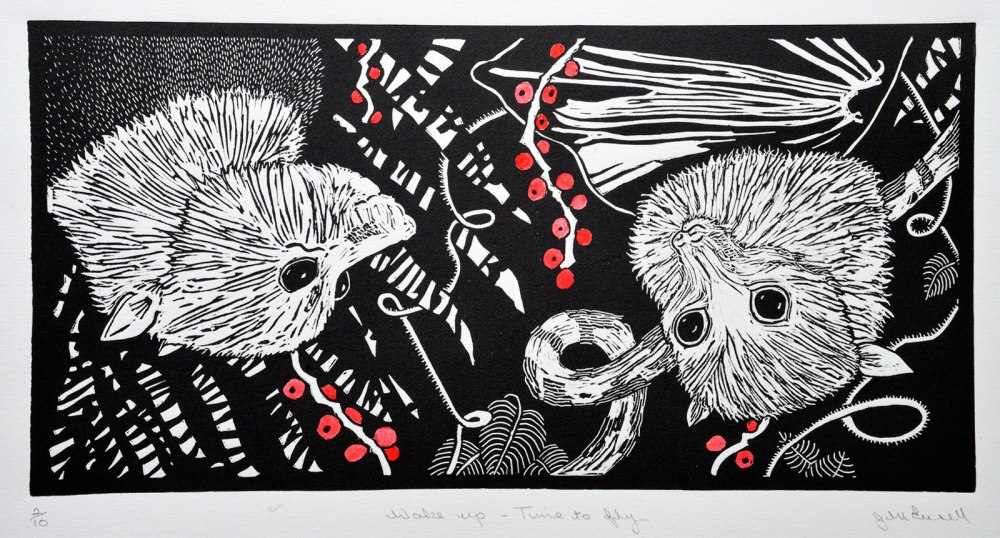 Linocut of two bats called Wake Up - Time to Fly