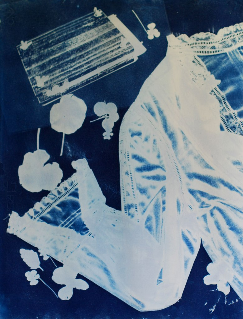 Cyanotype of heritage blouse and flower press