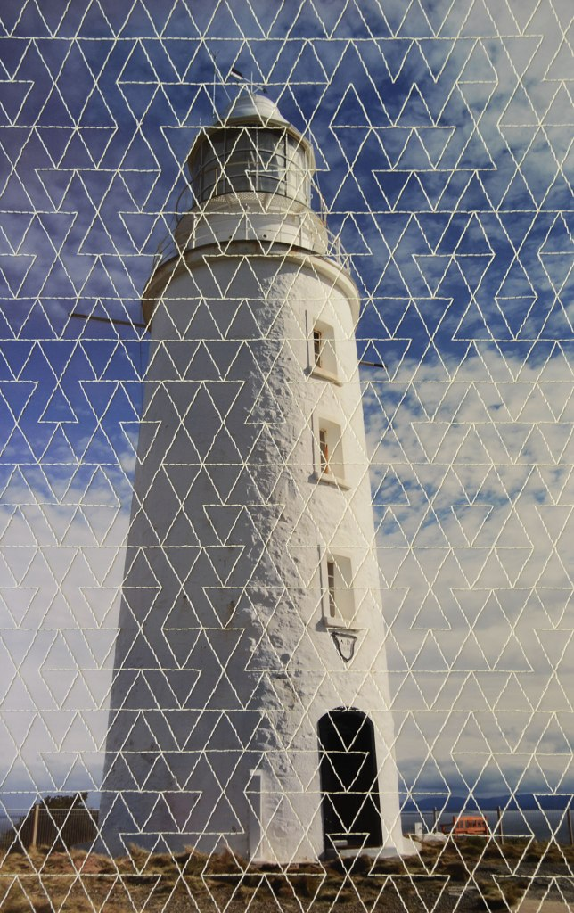 Handstitched photo of Bruny Island lighthouse