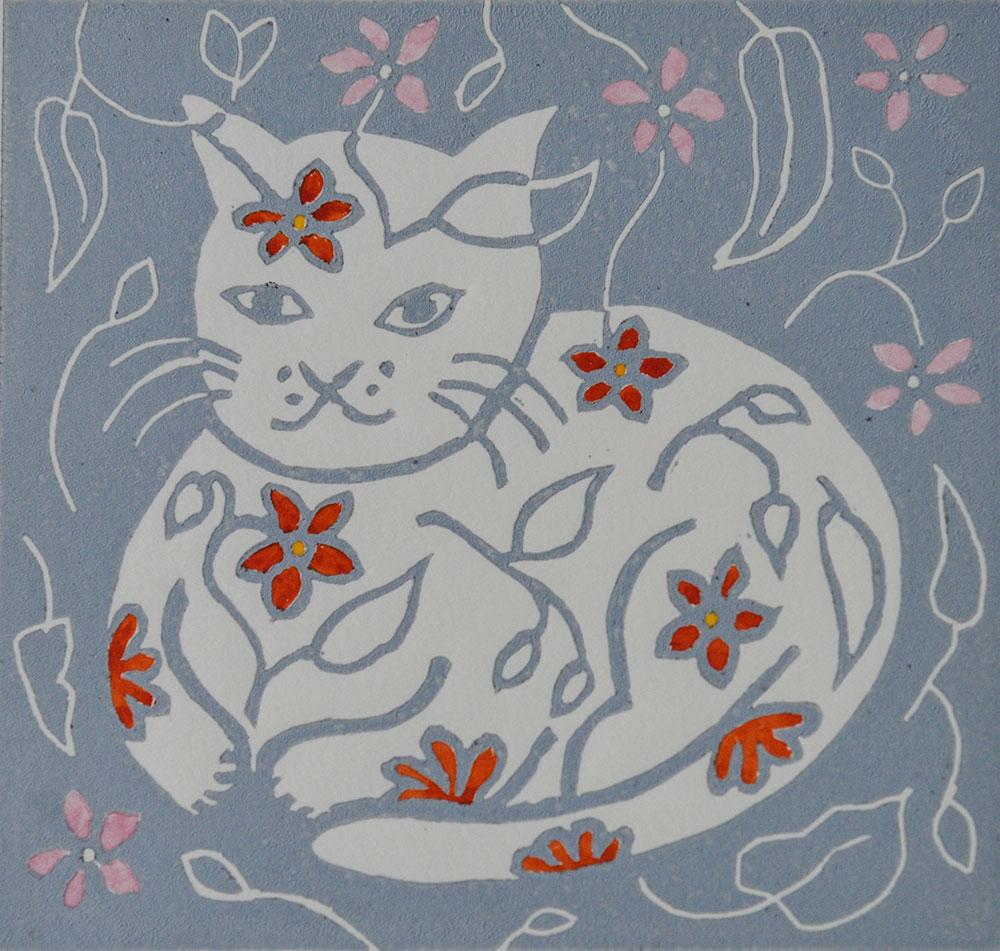 Tatty Cat linoprint