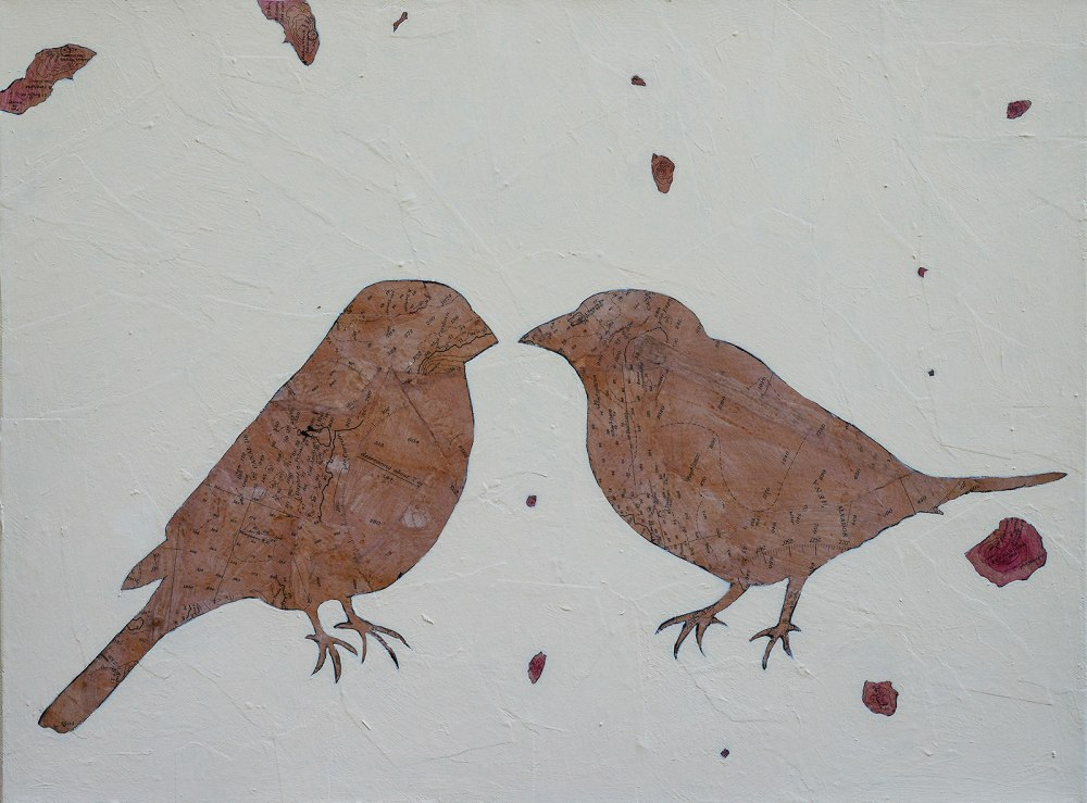 Contemporary painting of two finches